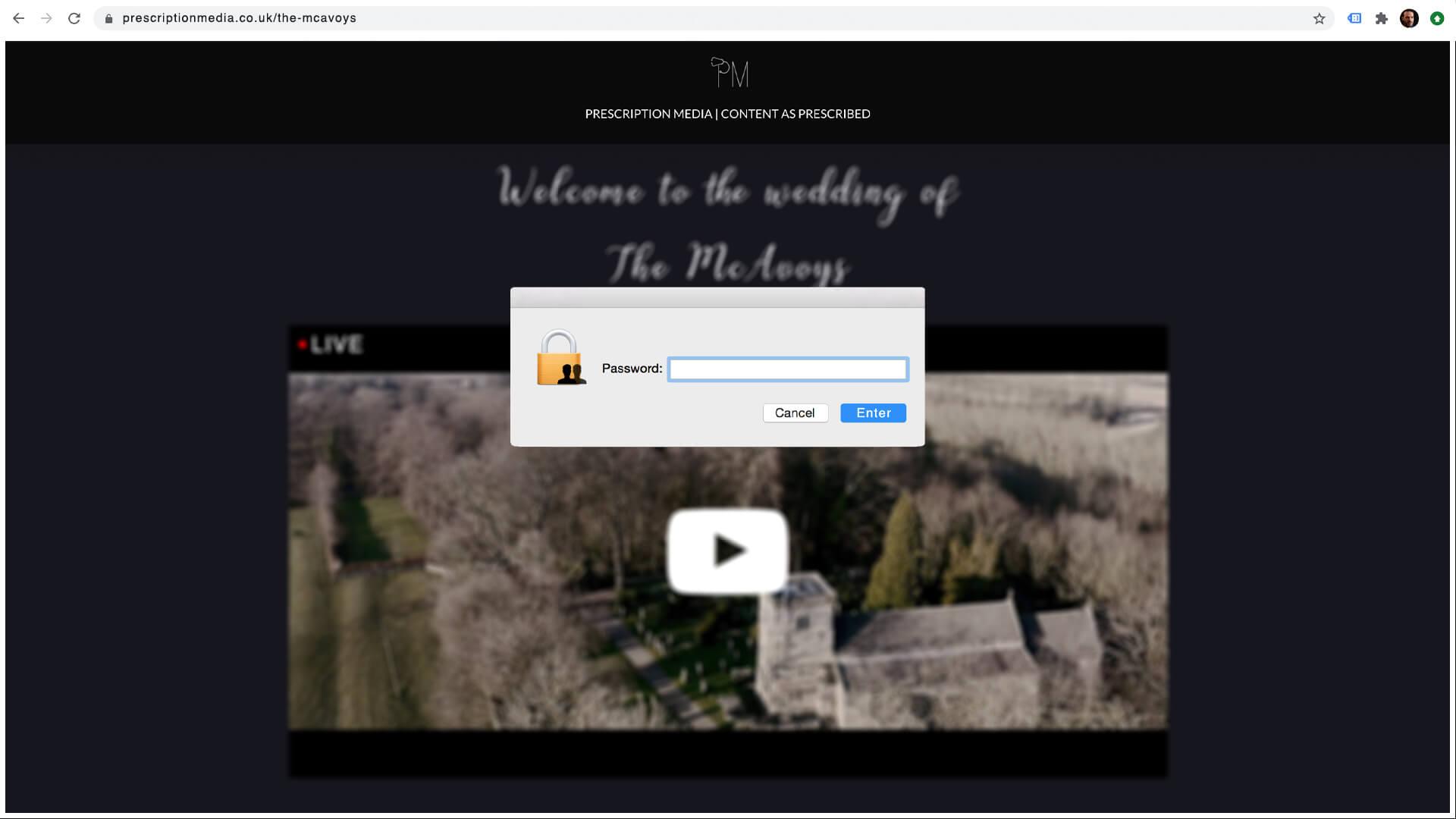 wedding live stream bespoke webpage by prescription media